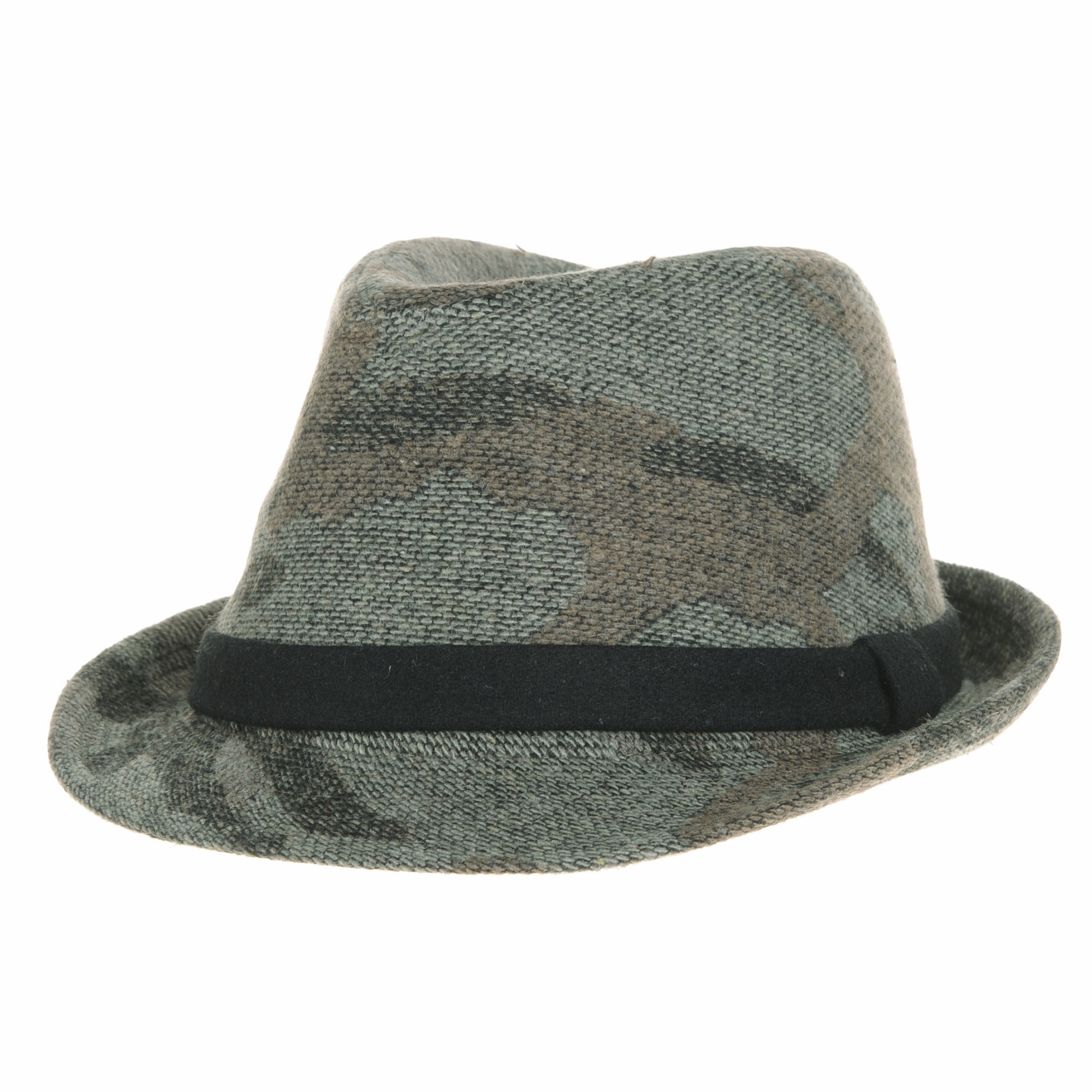 WITHMOONS Camouflage Fedora Hat Wool Felt Trilby Banded SL6450
