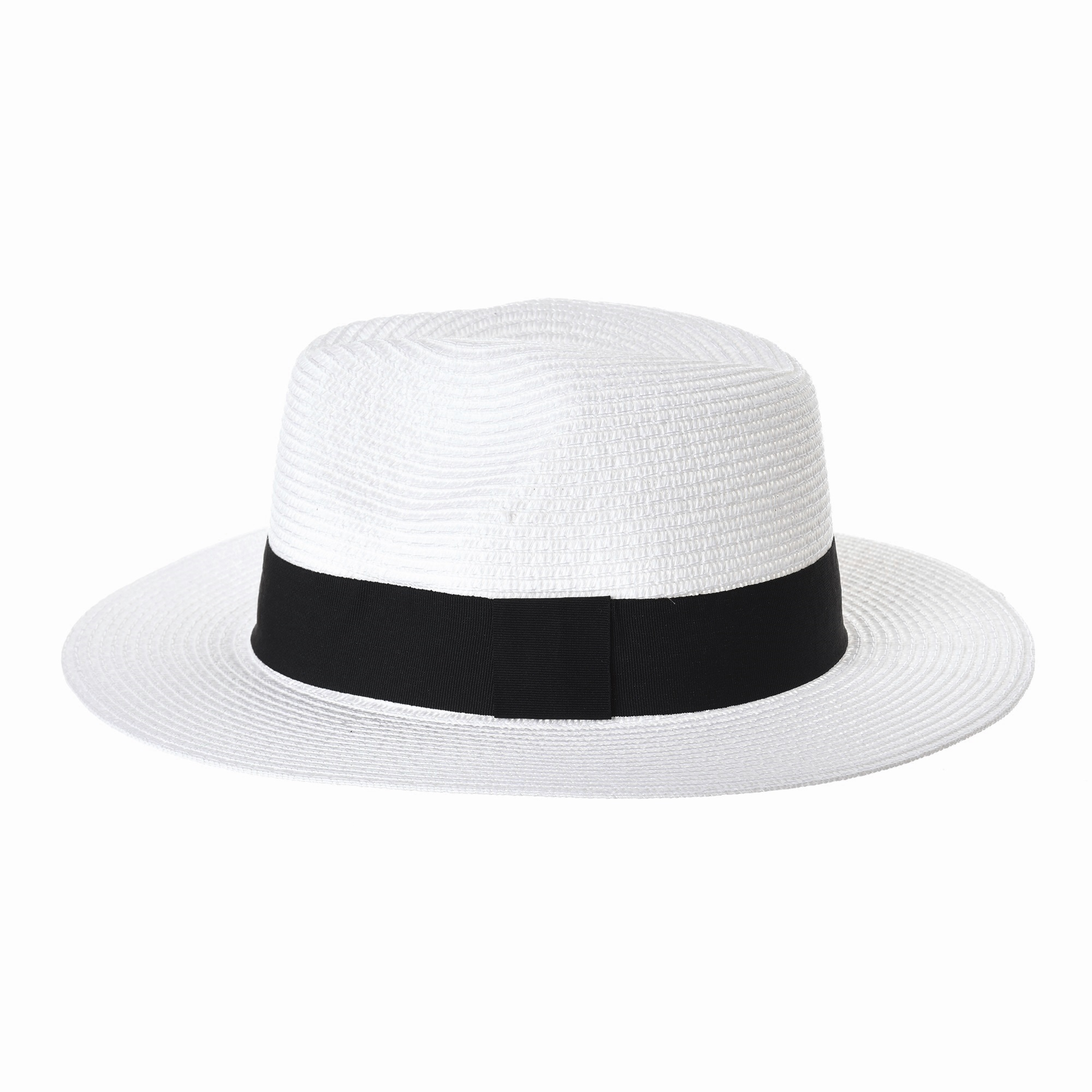 2ec1359e8 Details about WITHMOONS Fedora Panama Hat Black Banded Wide Brim Cool  Summer SL6690