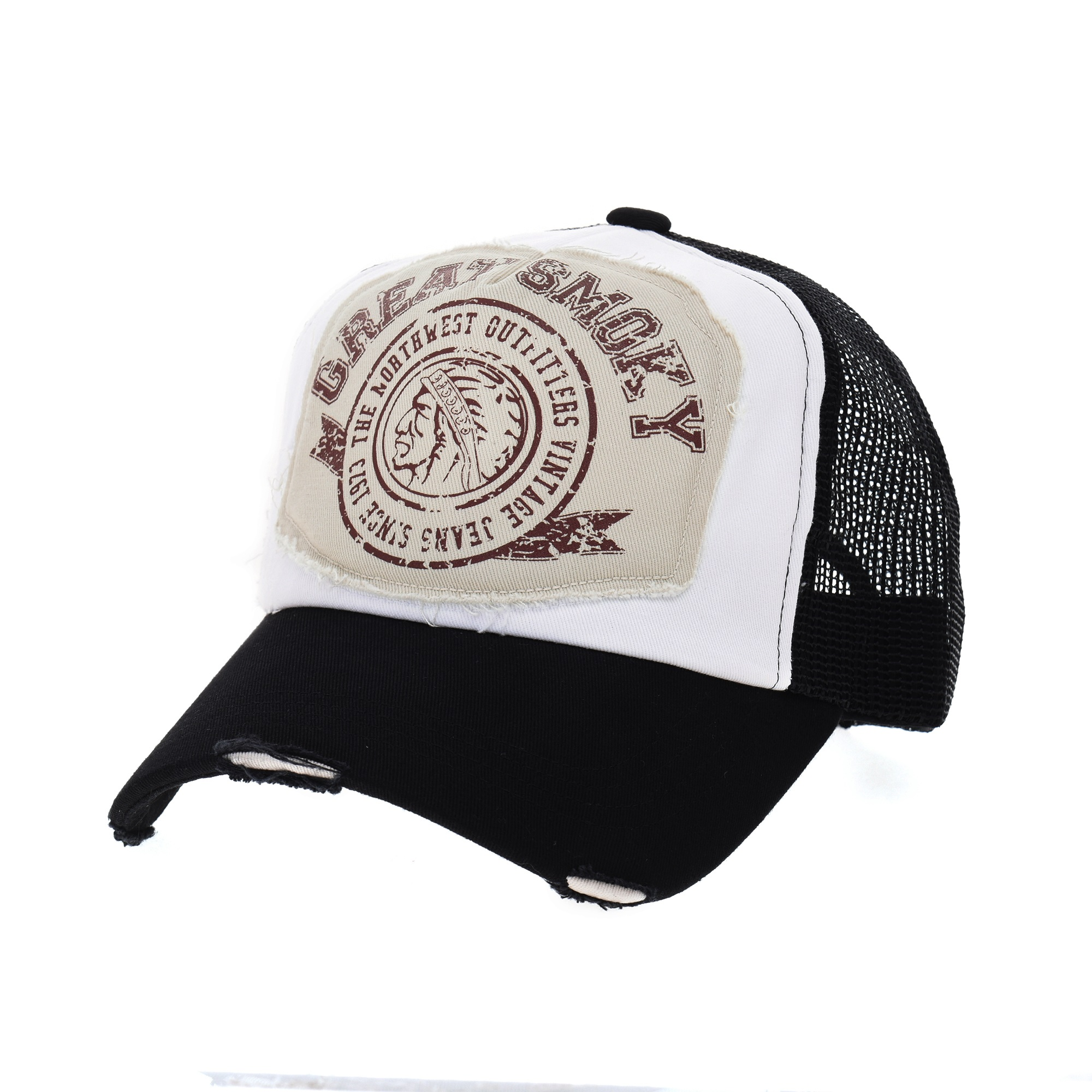 WITHMOONS Baseball Cap Mesh Distressed Cotton Trucker Cap KR1187